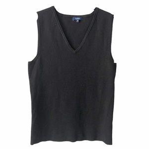 Black Knit V Neck Sweater Vest small